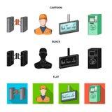 Mekanism, elkraft, transport och annan rengöringsduksymbol i tecknade filmen, svart, lägenhetstil Passerande som är offentligt, t royaltyfri illustrationer