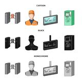 Mekanism, elkraft, transport och annan rengöringsduksymbol i tecknade filmen, svart, monokrom stil Passerande som är offentligt,  stock illustrationer