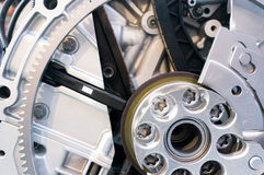 Mekanism med kugghjulet, våren och kedjan Royaltyfri Foto