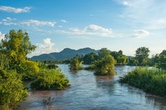 Mekhong River and Many Island at Don Khone Royalty Free Stock Images