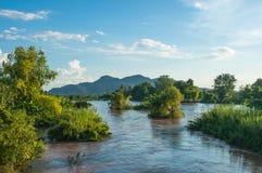 Mekhong rzeka i Wiele przy Don Khone wyspa Obrazy Royalty Free