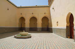 Meknes, Courtyard of the mausoleum of Moulay Ismail. Africa, Meknes, Courtyard of the mausoleum of Moulay Ismail royalty free stock images