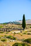 Meknes, Maroc 2 JUIN 2012 : Ruines romaines dans Volubilis, site de patrimoine mondial de l'UNESCO Image stock
