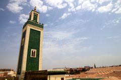 Meknes minaret. Green minaret of the Great Mosque in the heart of Meknes medina royalty free stock photography