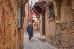 MEKNES, MOROCCO - FEBRUARY 18, 2017: Unidentified people walking in the street of Meknes, Morocco. Meknes is one of the four Imper. Ial cities of Morocco Royalty Free Stock Photos