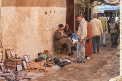 MEKNES, MOROCCO - FEBRUARY 18, 2017: Unidentified people working in the street of Meknes, Morocco. Meknes is one of the four Imperial cities of Morocco Royalty Free Stock Images