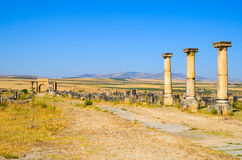 MEKNES, MOROCCO. JUNE 2, 2012: Roman ruins in Volubilis, UNESCO World Heritage Site. Volubilis is the best preserved Roman site in North Africa, featuring some royalty free stock photography