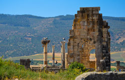 MEKNES, MOROCCO. JUNE 2, 2012: Roman ruins in Volubilis, UNESCO World Heritage Site. Volubilis is the best preserved Roman site in North Africa, featuring some Royalty Free Stock Images