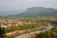 Mekong άποψη ποταμών από το υποστήριγμα Phousi Luang Prabang Λάος Στοκ εικόνα με δικαίωμα ελεύθερης χρήσης