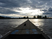 On the Mekong. A shot taken from a canoe on the Mekong river Royalty Free Stock Photos