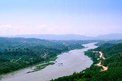 Mekong de Rivier verdeelt de grens tussen Thailand en Laos in Chi royalty-vrije stock afbeelding