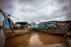 Mekong Delta Boats. Colourful boats on the Mekong river stock image