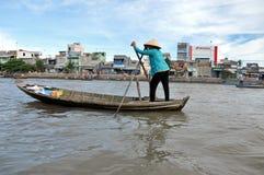 Mekong delta, Cai Rang Floating marknad, Vietnam Arkivbilder