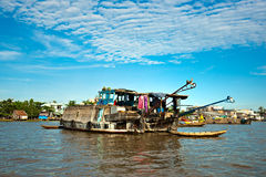 Mekong delta, Can Tho, Vietnam. Boats in a harbor in the Mekong delta, Can Tho, Vietnam Royalty Free Stock Photos