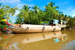 Mekong delta, Can Tho, Vietnam. Boats in a harbor in the Mekong delta, Can Tho, Vietnam Stock Photos