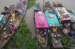 Mekong delta i Chau Doc Arkivfoton