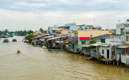 Mekong delta i Vietnam Arkivbilder