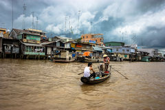 Mekong Delta. Mekong river and floating market in Vietnam royalty free stock photography