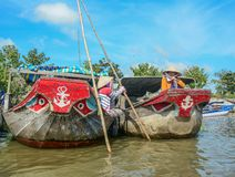 Wooden boats on Mekong River stock photo