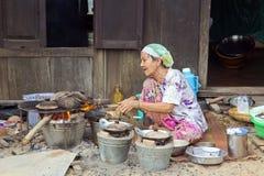 MEKONG DELTA, VIETNAM - MAJ 2014: Vanligt liv Fotografering för Bildbyråer