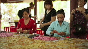 MEKONG DELTA,VIETNAM - MAY 2014: Coconut candy makers stock video footage