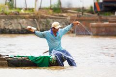 Vietnamese Fisherman with Net royalty free stock photos