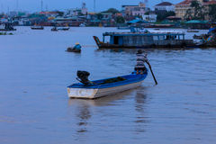Mekong panorama with man Royalty Free Stock Photo