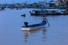 Mekong panorama with man Royalty Free Stock Photo