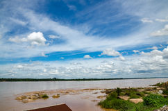 Mekong river and blue sky. Mekong river on Thai-Laos and blue sky royalty free stock photo