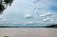 Mekong river and blue sky. Mekong river on Thai-Laos and blue sky stock photos
