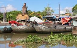 Mekong river boats Royalty Free Stock Photos