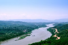 Mekong River divides the border between Thailand and Laos in Chi royalty free stock image