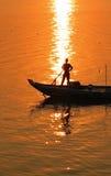 Mekong River fartygsolnedgång Royaltyfria Bilder