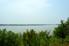 Mekong River in Kratie, Cambodia during dry season stock images