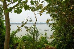 Mekong River in Kratie, Cambodia during dry season stock image