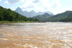 Mekong river and mountain peaks between Laos and Thailand, Asia  Royalty Free Stock Image