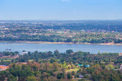 Mekong river at Mukdahan, Thailand. Top view of mekong river at Mukdahan, Thailand royalty free stock image