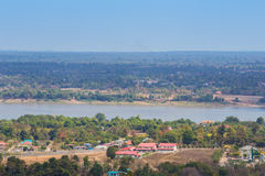 Mekong river at Mukdahan, Thailand. Top view of mekong river at Mukdahan, Thailand stock image
