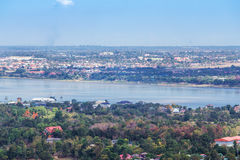 Mekong river at Mukdahan, Thailand. Top view of mekong river at Mukdahan, Thailand Stock Photo