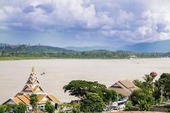 Mekong River och guld- triangel arkivfoton