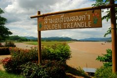 Mekong River på den guld- triangeln. Mutor Ruak, Thailand Royaltyfri Bild