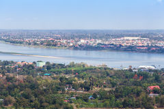 Mekong River på Mukdahan, Thailand Arkivbild