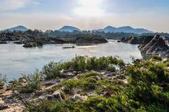 Mekong River på solnedgången i Don Kone, 4000 öar, Laos Royaltyfri Fotografi