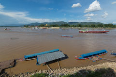 Mekong river in the place named Golden Triangle. Border of Thaoland,Laos and Burmar Stock Photo
