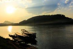 Mekong river,port, Luang Prabang, Laos Royalty Free Stock Image