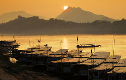Mekong river,port Royalty Free Stock Photo