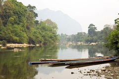Mekong River Scene, Vang Vieng, Laos Stock Photo