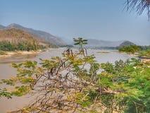 Mekong River sikt på den lokala restaurangen, Luangprabang, Laos Royaltyfria Foton