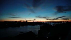 Mekong river sunrise stock footage