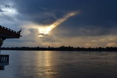 Mekong River/sunset/evening/relaxing/sky royalty free stock images